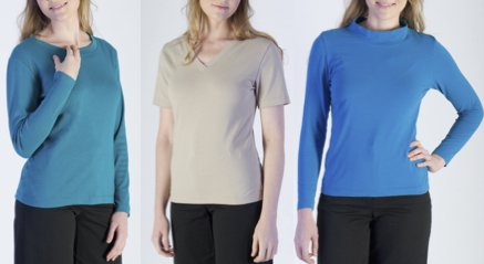 Three models wearing different variations of the Knit Top.